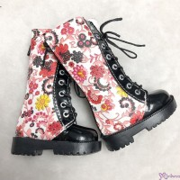 MSD 1/4 BJD Obitsu 60cm Doll Shoes PU Leather Flower Boots Red SHM081RED