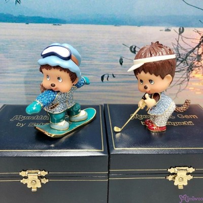 Monchhichi Gem Jewelry Swarovski Crystal Figure - Snow Boarder 1514