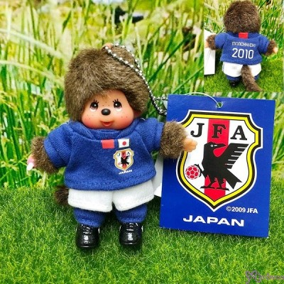 Monchhichi Plush Mascot Keychain Football 2010 Blue Boy 201070