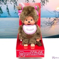 Sekiguchi Monchhichi S Size  Girl Hot Pink Bib Twin Braid Plush 255550
