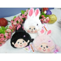 Monchhichi Bunny 13 x 18cm Plush Coin Bag Passcase Card Case with Buckle (Set of 3pcs) 2558SET