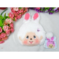 Monchhichi Bunny 13 x 18cm Plush Coin Bag Passcase Card Case with Buckle White 255820