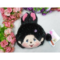 Monchhichi Bunny 13 x 18cm Plush Coin Bag Passcase Card Case with Buckle Black 255840