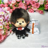 Monchhichi Big Head MCC Mascot Keychain Black Checker Boy 258888