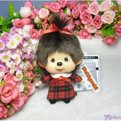 Monchhichi Big Head MCC Mascot Keychain Red Checker Girl 258895
