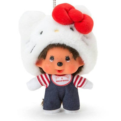 Hello Kitty x Monchhichi Mascot Plush 14cm Limited Keychain 324066