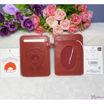 Monchhichi Cowhide Passcase Visa Card Pass Case Holder Red 40193