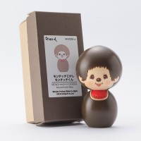 Monchhichi Kokeshi Japan Hand Made Craft Wooden Doll BOY 444476