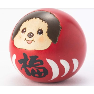 Monchhichi Kokeshi Japan Hand Made Craft Wooden Doll  Daruma Red & White 445565+445572 (PAIR)