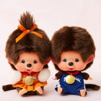 Japan SFDS Shop Limited Monchhichi 13cm Sitting Sport Boy & Girl 838028+838035