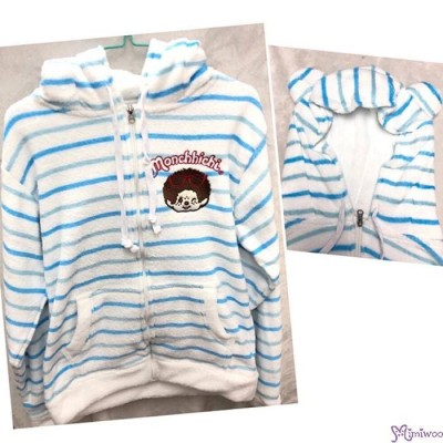 Monchhichi 100% Polyester Adult Fashion Hooded Knit Coat Blue Stripe M Size RX038M-B