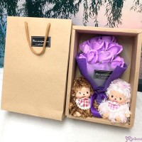 Bebichhichi Mokomoko 2pcs + Soap Flower Rose Gift Box Set