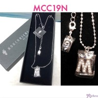 "Monchhichi Jewelry by Sekiguchi Sterling Silver Crystal Necklace - ""M"" word MCC19N"