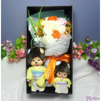 Monchhichi & Bebichhichi  Kimono Chrysanthemum + Soap Flower Rose Gift Box Set