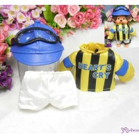 Monchhichi S Size Fashion - Horse Racing Jockey Suit Yellow (Helmet + Goggles) RX017-YEW