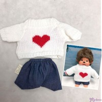Mimi Collection Boutique Outfit Fashion White Knit Top Heart + Skirt fit Monchhichi S Size RX043