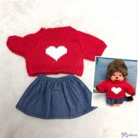 Mimi Collection Boutique Outfit Fashion Red Knit Top Heart + Skirt fit Monchhichi S Size RX046