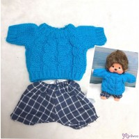 Mimi Collection Boutique Outfit Fashion Blue Knit Top + Pants fit Monchhichi S Size RX050