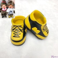 Monchhichi S Size Doll Shoes Plastic Sneaker Black & Brown XA57-B