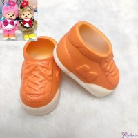 Monchhichi S Size Doll Shoes Plastic Sneaker Orange XA57-C