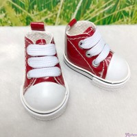 MCC S Size Plush Doll PU Leather Shoes Red YK02RED