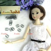 NDA050DGY Doll Dress DIY 8x8mm Metal Buckle Dark Grey 10pcs