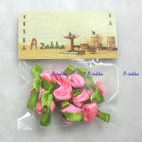 DIY Craft 2cm Ribbon Flower Pink + Leaf (10pcs) NDA074PNK