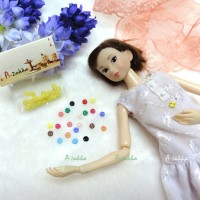 NDB001YEW Doll Dress DIY Craft Tiny Button Round 4mm S Yellow