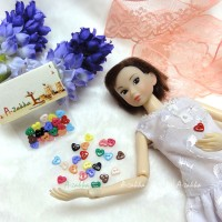 NDB004MIX Doll Dress DIY Craft Tiny Button Heart 6.5mm Mix Color