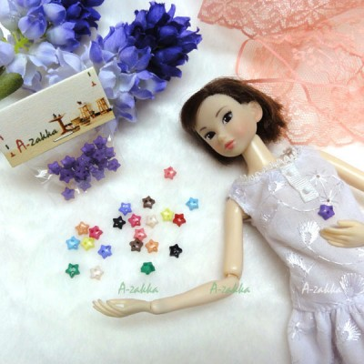 NDB005PUE Doll Dress DIY Sewing Tiny Button Star 6.5mm Purple