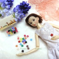 NDB006MIX Doll Dress DIY Sewing Button Square 5mm Mix Color