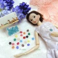 NDB008BLE Doll Dress DIY Sewing Tiny Button Flower 6.5mm Blue