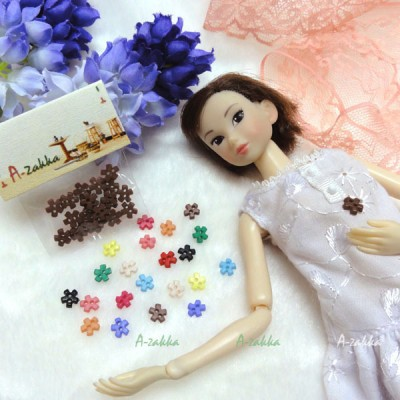 NDB008BRN Doll Dress DIY Sewing Tiny Button Flower 6.5mm Brown
