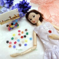 NDB008MIX Doll Dress DIY Sewing Button Flower 6.5mm Mix Color