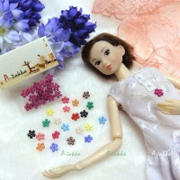 NDB008RSE Doll Dress DIY Sewing Tiny Button Flower 6.5mm Rose