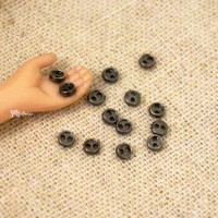 DIY Crafts Round 3mm Metal Mini Button Dark Grey 20pcs NDB033DGY