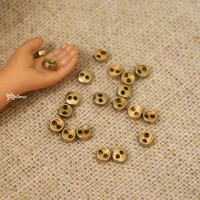 DIY Materials Round 3mm Metal Mini Button Gold 20pcs NDB033GLD