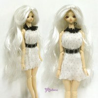 "Heat Resistant 3.5"" - 4"" Doll Center Part Wave Long Wig Silver WM27-LB1-SL"