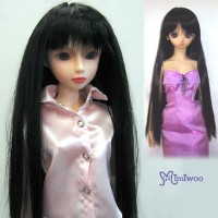 "8-9"" Heat Resistant Long Straight Bjd Doll Wig Black WM70-02-BK"