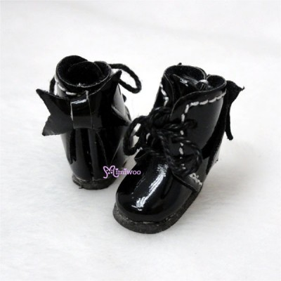 Middie B 2.2cm Doll Shoes Ribbon Boots Black SBB007BLK
