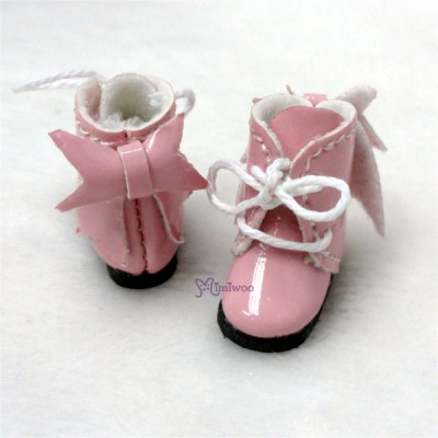 Middie B 2.2cm Doll Shoes Ribbon Boots Pink SBB007PNK