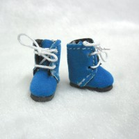 Middie B 2.2cm Doll Shoes Flocked Boots Blue SBB008BLE