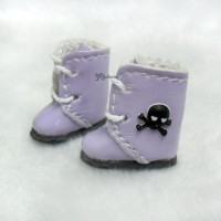 Middie B 2.2cm Doll Shoes 3D Skull Boots Purple SBB013PUE