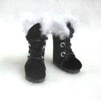 Middie B 2.2cm Doll Shoes Plushy Boots Black SBB020BLK