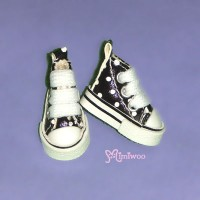 SHP070BLK Blythe Pullip Denim MICRO Shoes Dot Sneaker Black
