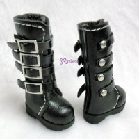 1/6 Bjd Doll Shoes Buckle Boots Black SHP129BLK