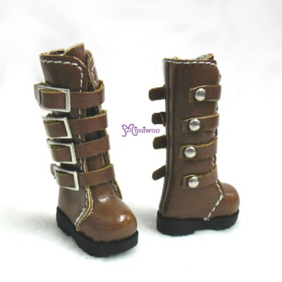 1/6 Bjd Doll Shoes Buckle Boots Brown SHP129BRN
