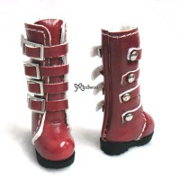 1/6 Bjd Doll Shoes Buckle Boots Red SHP129RED
