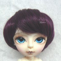 "WM60-07-WR Hujoo Bjd Heat Resistant 7-8"" Shaggy Wig Wine Red"