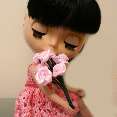 YC0037RSE 1/6 Bjd Doll Mini Satin Flower Rose Pink